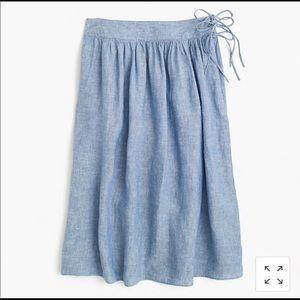 J. Crew easy linen midi skirt with ties